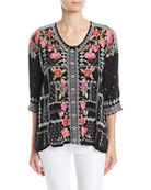 Johnny Was Plus Size Carnation Embroidered Georgette Blouse