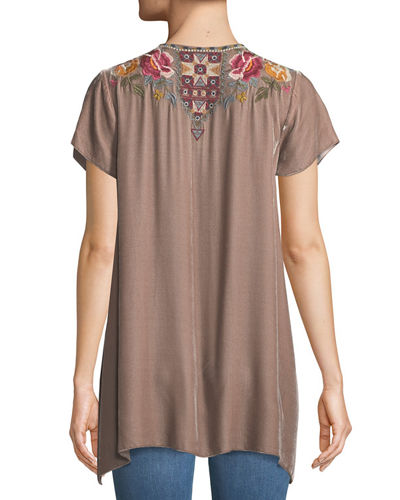 Cherelle Embroidered Velvet Tunic, Plus Size