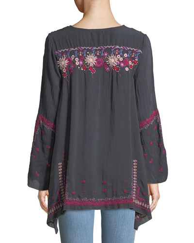 Wish Stitch Embroidered Tunic, Plus Size