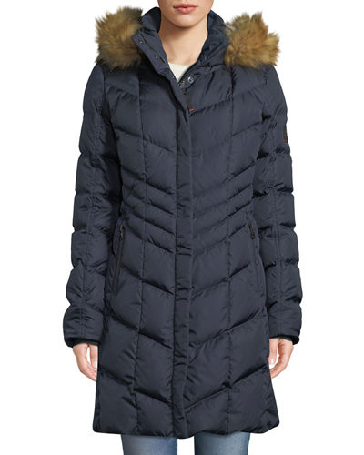 Kiara Long Chevron Down Puffer Coat w/ Hood & Faux-Fur Trim