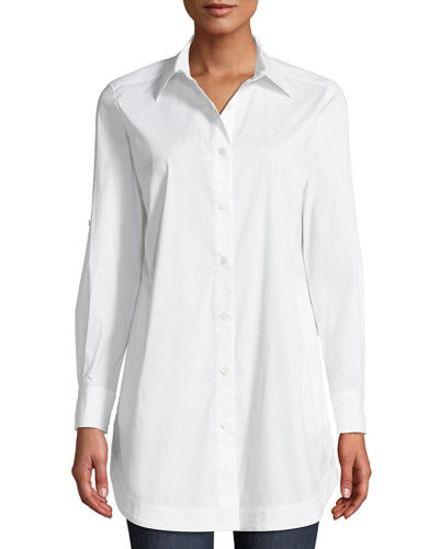 Button-Front Shirt w/ Painter's Pockets, Petite
