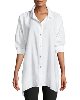 Eileen Fisher Crosshatch Classic Button-Front Big Shirt and