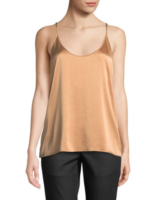 Silk Charmeuse Cami Top, Plus Size in Amber