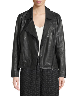 Eileen Fisher Rumpled Lux Leather Moto Jacket, Plus