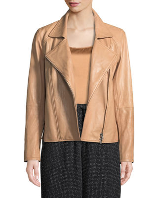 Rumpled Lux Leather Moto Jacket, Plus Size, Amber