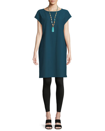 Eileen Fisher Short-Sleeve Stretch Crepe Tunic Dress and
