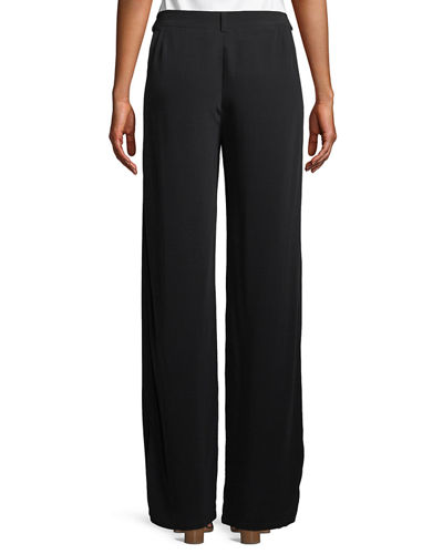 Viscose Crepe Straight-Leg Trousers