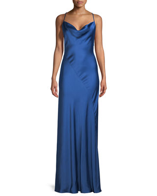Image 1 of 2: Sleeveless Cowl-Neck Bias-Seam Satin Evening Gown