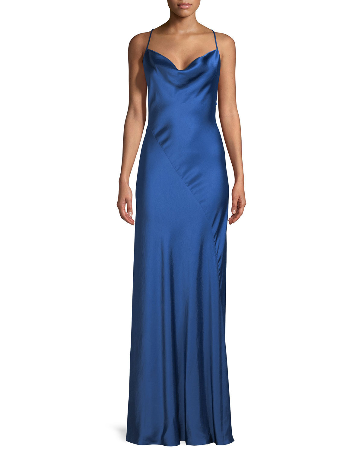 Cowl Neck Satin Wedding Dresses: Diane Von Furstenberg Sleeveless Cowl-Neck Bias-Seam Satin