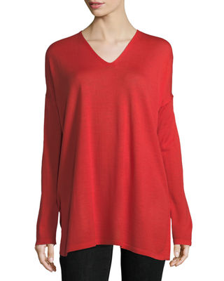 Eileen Fisher Ultrafine Merino V-Neck Tunic, Petite