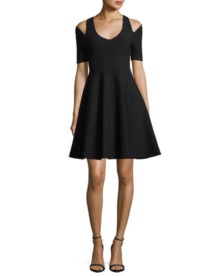 Milly Slit-Shoulder Fit-&-Flare Dress