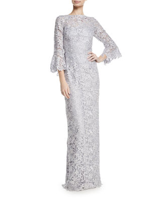 Rickie Freeman for Teri Jon Bell-Sleeve Floral Lace
