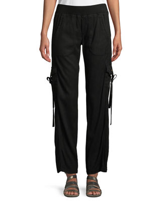 XCVI VRONI RELAXED CARGO PANTS WITH GROMMET & TIE DETAIL, PLUS SIZE