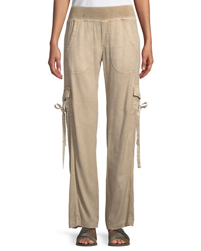 Vroni Relaxed Cargo Pants with Grommet & Tie Detail