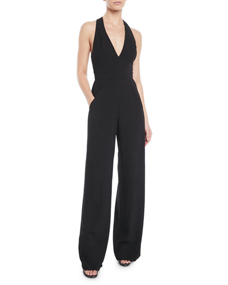 Black Halo Sleeveless Halter V-Neck Jumpsuit