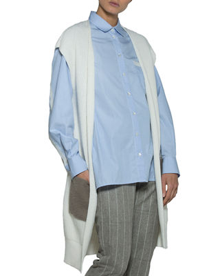 Eleventy Open-Front Cardigan with Shearling Pockets