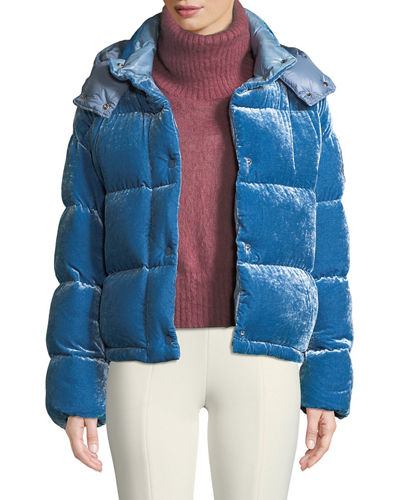 Caille Velvet Puffer Coat w/ Detachable Hood