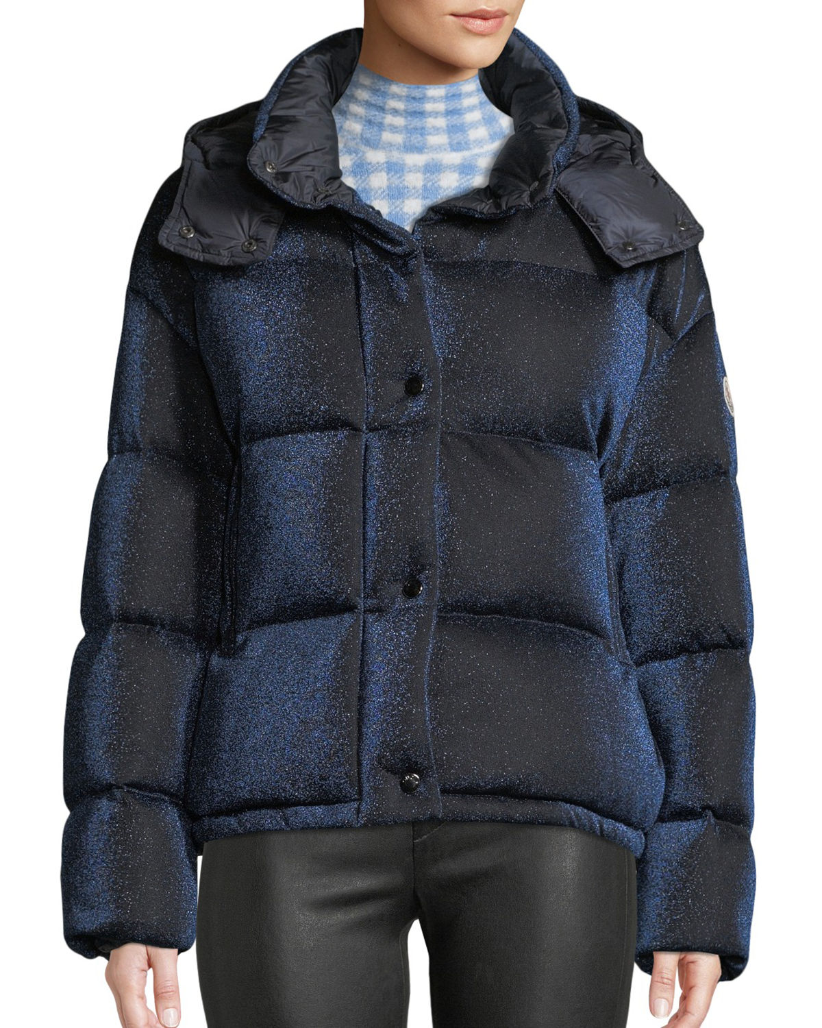 Caille Metallic Puffer Coat w/ Removable Hood