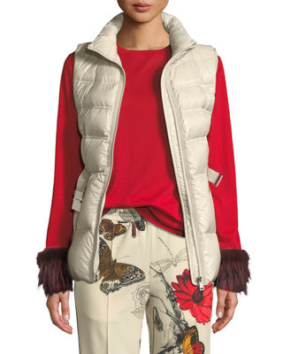 AIGRETTE BELTED PUFFER VEST
