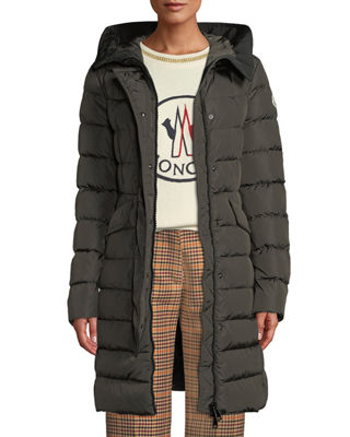 Moncler Grive Long Puffer Coat w/ Hood and