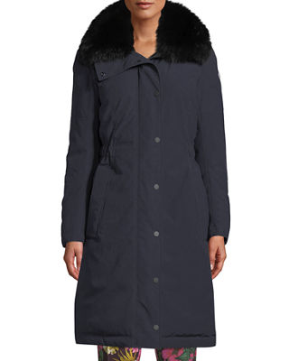 Moncler Jasseur Parka Coat w/ Removable Fur Collar
