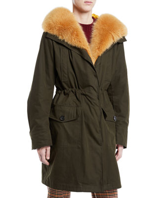 Moncler Hypolais Trench Coat w/ Fur Lining and