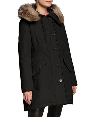 Moncler Monticole Long Coat w/ Fur Trim at
