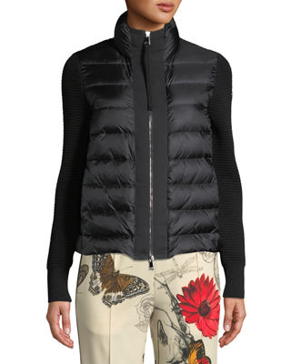 Moncler Puffer Cardigan w/ Knit Sleeves and Matching