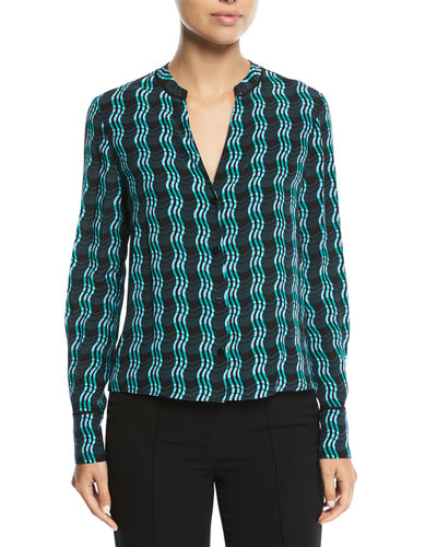 Long-Sleeve V-Neck Silk Shirt