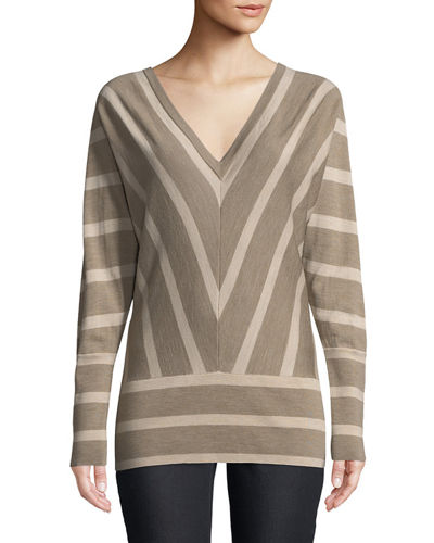 Lafayette 148 New York Striped Wool Dolman-Sleeve Sweater