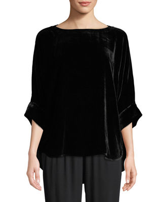 Eileen Fisher Dolman-Sleeve Velvet Top, Petite
