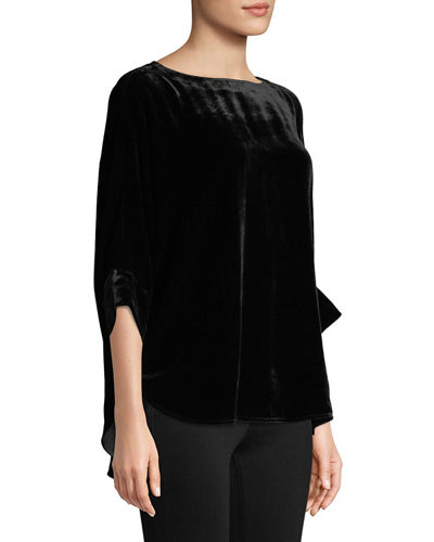 Plus Size Dolman-Sleeve Velvet Top