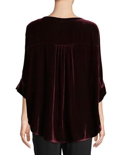 Dolman-Sleeve Velvet Top, Plus Size