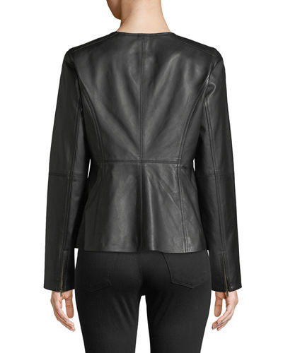 Drapey Zip-Front Shaped Leather Jacket