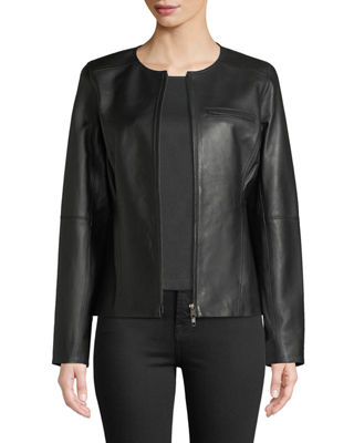 Eileen Fisher Drapey Zip-Front Shaped Leather Jacket and