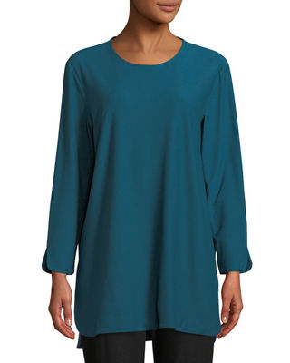 Washable Crepe Bracelet Tunic, Plus Size, Dark Jewel