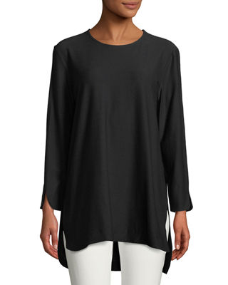 Eileen Fisher Washable Crepe Bracelet-Sleeve Tunic and Matching