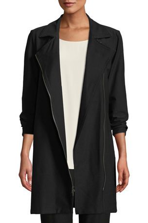 Eileen Fisher Plus Size Washable Stretch Crepe Moto Jacket