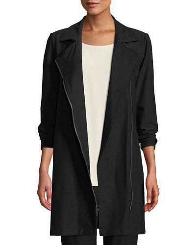 Washable Stretch Crepe Moto Jacket, Plus Size