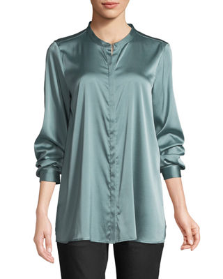 Eileen Fisher Silk Charmeuse Mandarin-Collar Shirt