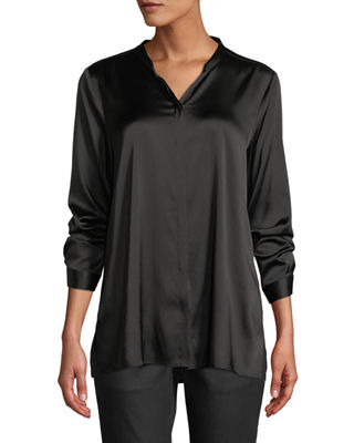Eileen Fisher Silk Charmeuse Mandarin-Collar Shirt, Plus Size