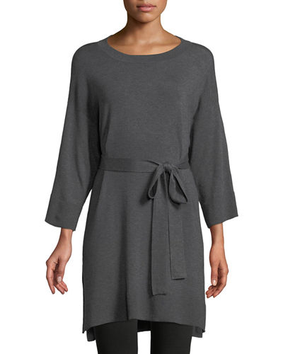 3/4-Sleeve Cozy Stretch Tencel Tunic w/ Belt