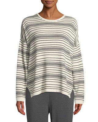 Eileen Fisher Long-Sleeve Striped Sweater, Petite and Matching