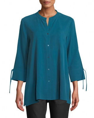 Eileen Fisher Fuji Silk 3/4-Sleeve Blouse and Matching