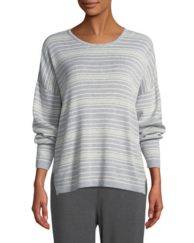 Plus Size Long-Sleeve Striped Sweater