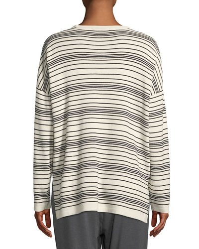 Long-Sleeve Striped Sweater, Plus Size
