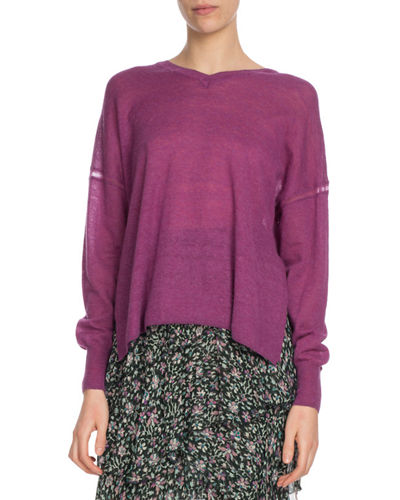 Field V-Neck Side-Split Pullover Sweater