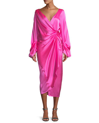 SOLACE LONDON Aurora Gathered Silk Midi Dress in Pink