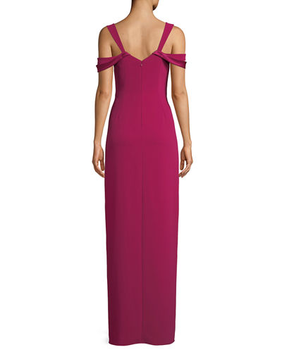 Halston Heritage Cold-Shoulder Fitted Crepe Gown