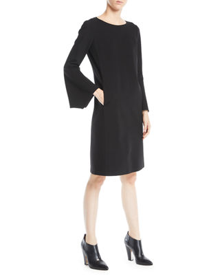 Paloma Punto Milano Dress W/ Trumpet Sleeves, Black